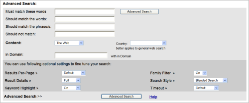 advanced search interface
